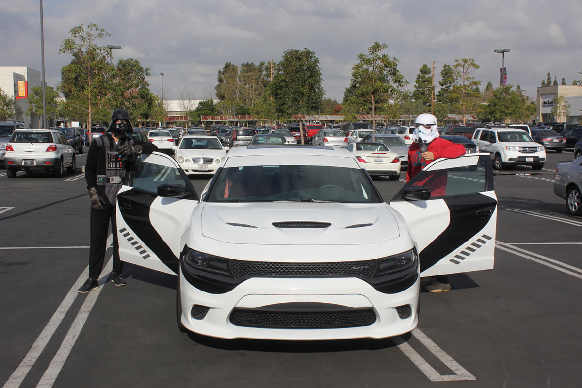 stormtroopers day off putting the galaxy on hold to enjoy dodges charger srt hellcat dodge stormtrooper
