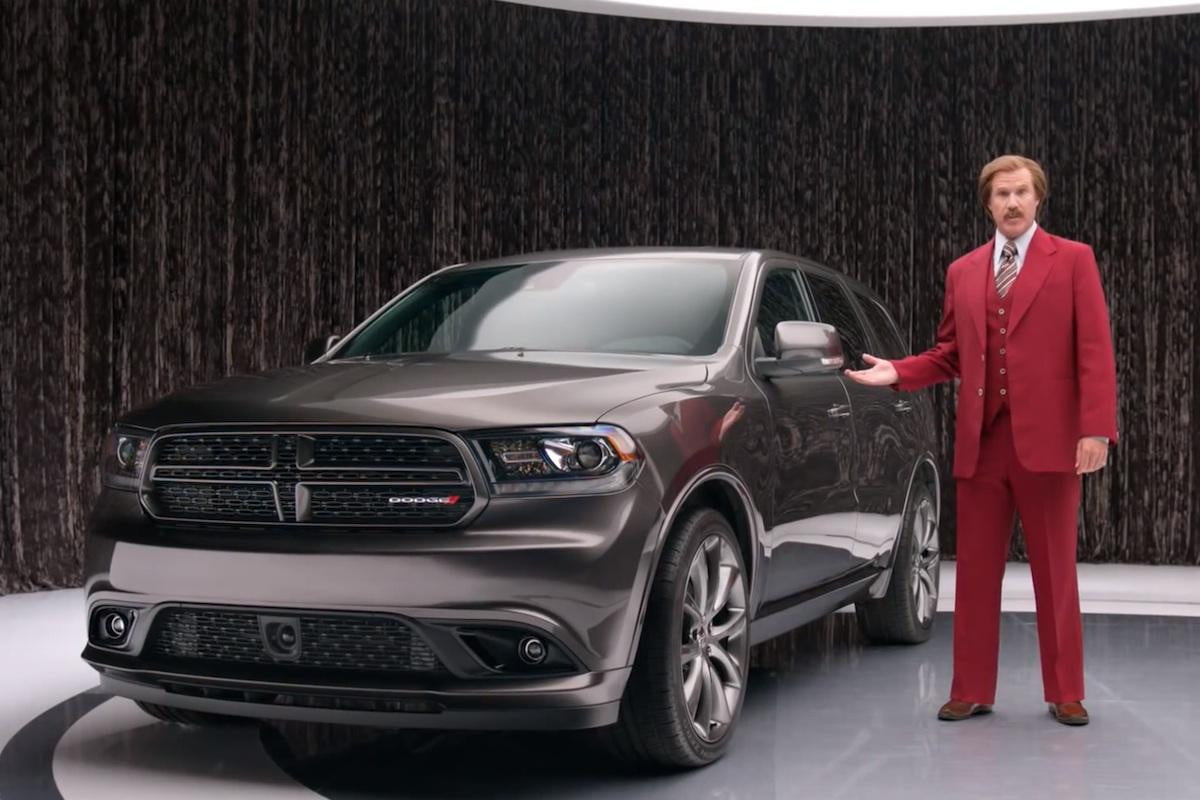 the anchorman wants you in a  dodge durango ron burgundy teams up with chrysler