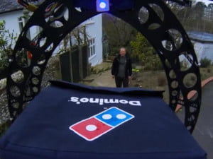 domicopter drone delivers pizza