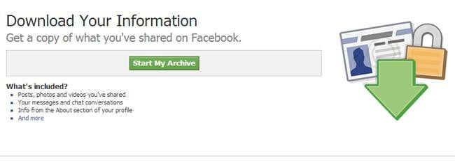 Download facebook data - download your information