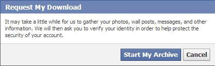 Download facebook data - warning