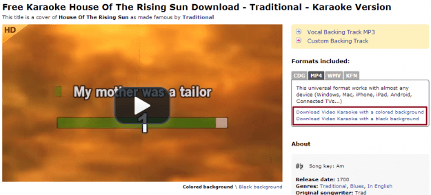 Downloading House of the Rising Sun