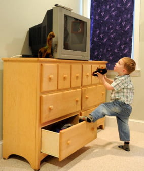 Falling television chest tipover