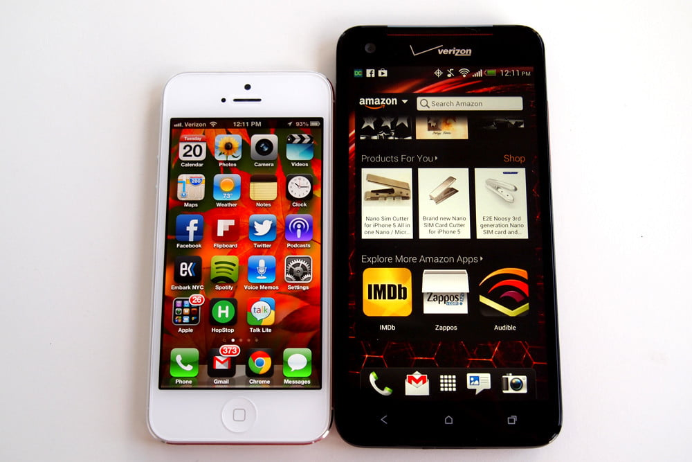Droid DNA review side by side iphone 1080p smartphone
