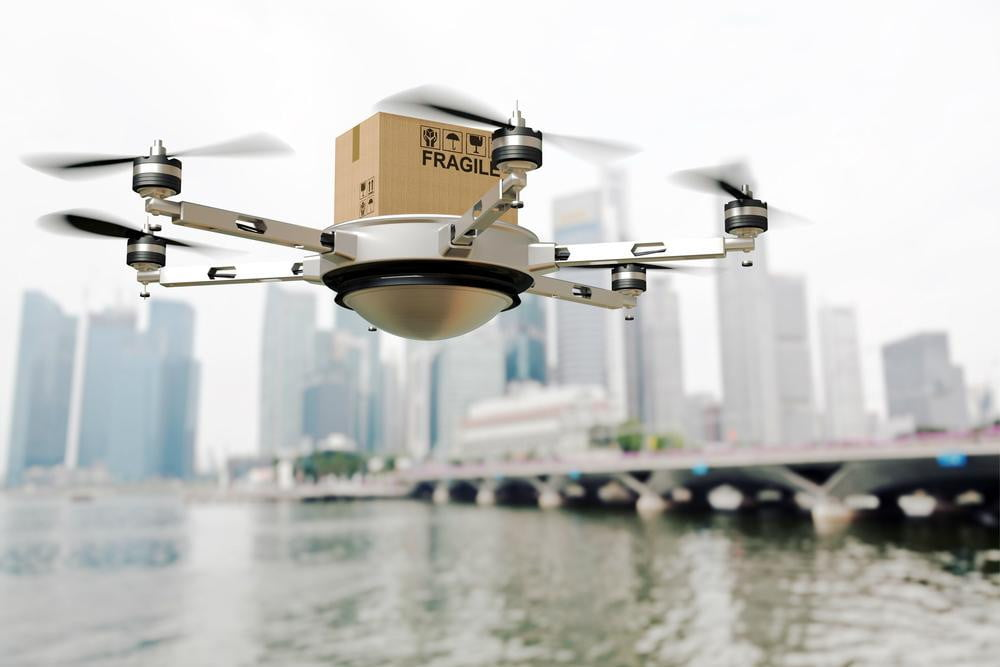 google patent box on wheels drone delivery