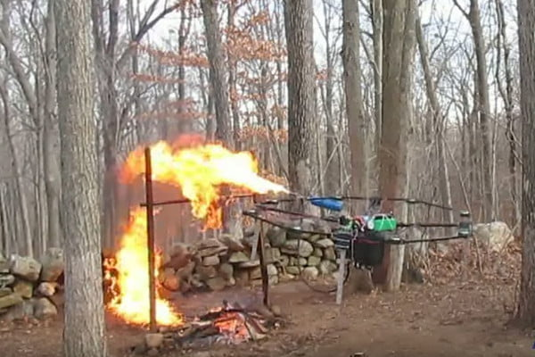 Haughwout's flamethrower drone in action