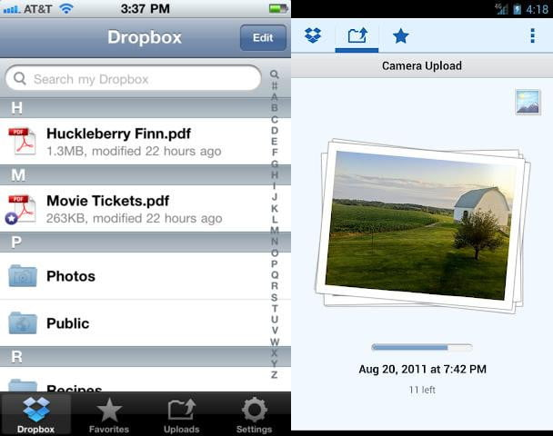 dropbox screenshot file sharing utility android ios