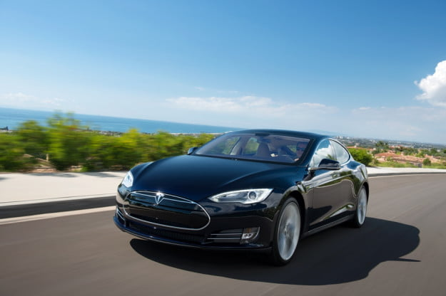 Tesla Model S black driving