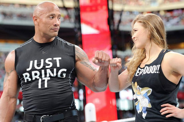 dwayne johnson boost unit fox the rock wwe wrestling ronda rousey authority
