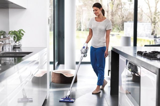 hands on dyson hard mop vacuum hybrid in use