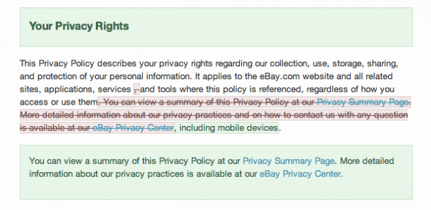 Ebay privacy changes
