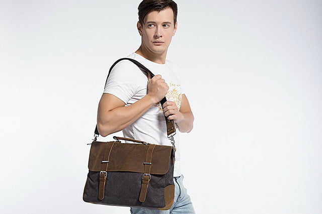ecosusi vintage leather laptop bag deal  inch cover photo