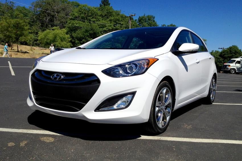 Elantra GT coupe left right side closeup white