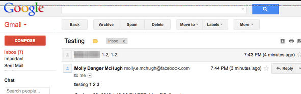 gmail to facebook