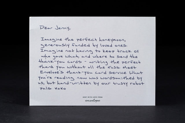 Envelope Uses Robots to Write Gift Registry Thank You Notes – Wedding Thank You Cards Examples
