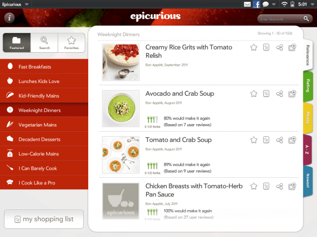 Epicurious on HP TouchPad