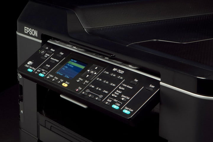 epson workforce wf  review printer buttons angle