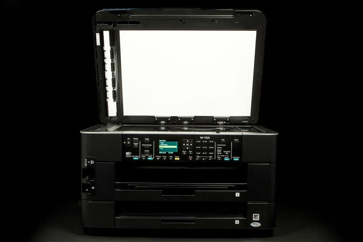 epson workforce wf  review printer front scanner bed open