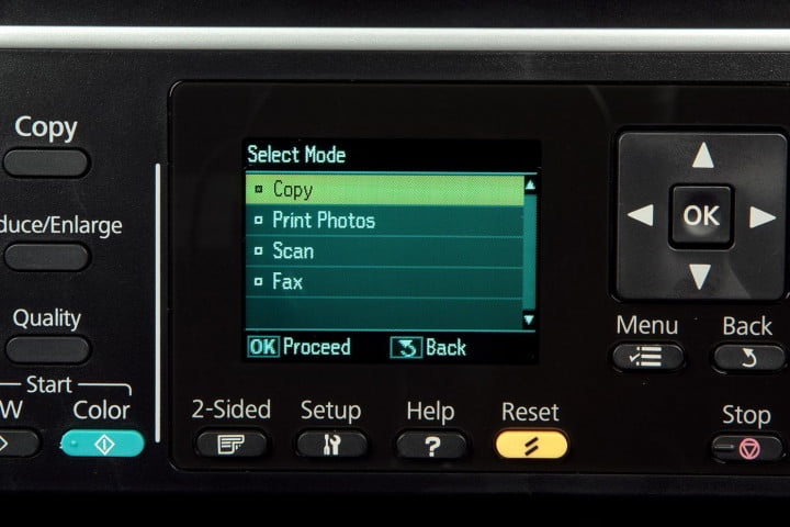 epson workforce wf  review printer front screen