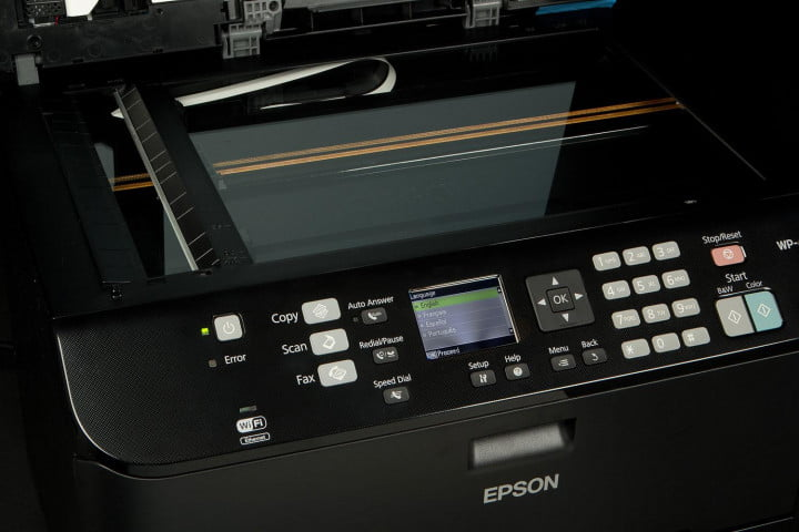 epson workforce pro wp  review scanner and control panel