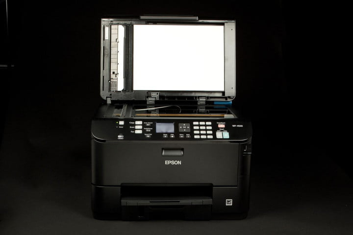 epson workforce pro wp  review scanner bay open