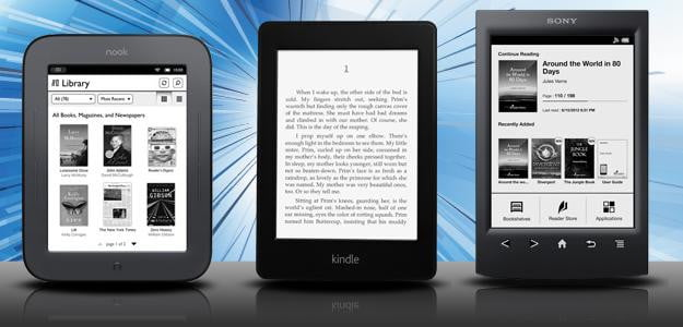ereader comparison: e-ink kindle sony reader nook