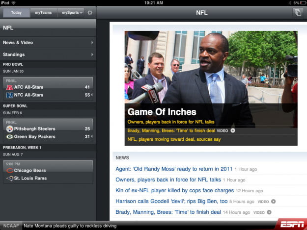 ESPN ScoreCenter XL ipad app