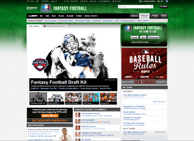 ESPN Fantasy Football Homepage