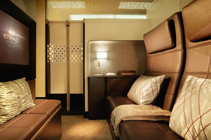 etihad airways puts apartment inside an a  as part of luxury travel service the residence lounge