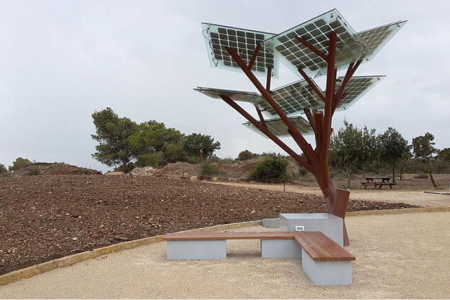 solar powered trees planted israel charge smartphones cool water offer free wi fi etree tree