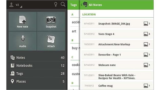 Evernote for android screenshot