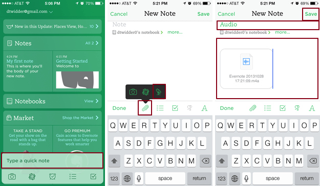 Evernote Screen Audio Note