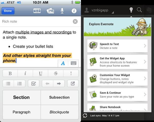 evernote screenshot ios android app