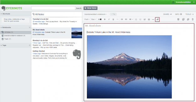 Evernote Web image note