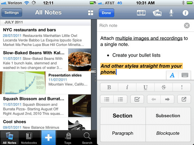 Evernote iTouch App