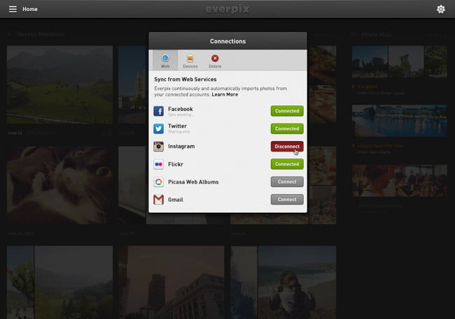 Everpix syncs with a variety of local and online sources where your photos are stored.