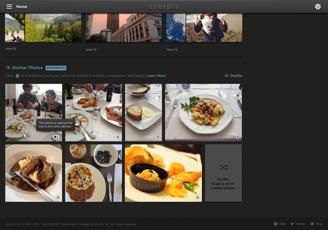 Using proprietary semantic analysis, Everpix can determine objects within a photo and group them by similarity.