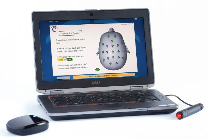 evox eeg brain reader from evoke neuroscience helps mma fighters device laptop setup