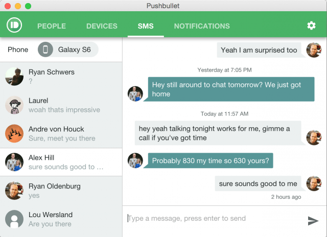 new pushbullet feature send sms from pc extension