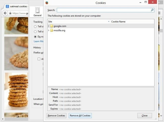 Firefox locally stored cookies