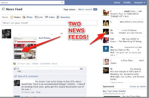 two feeds, one facebook
