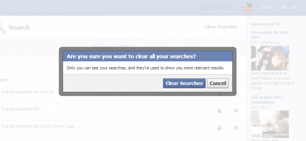 facebook activity clear searches confirmation