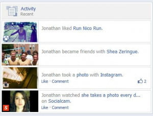 Facebook Activity Feed on Timeline