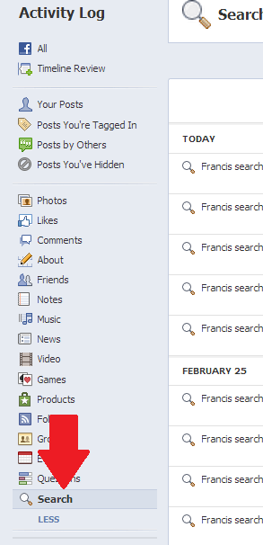 facebook activity log search