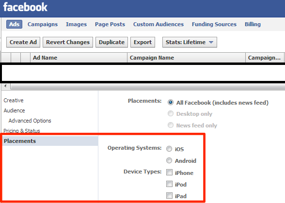 facebook ad device targeting