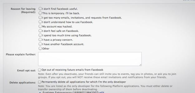 facebook deactivate screen leaving social networking
