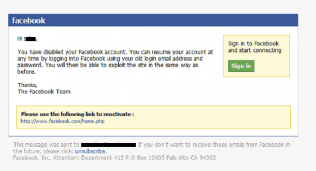 facebook disabled account