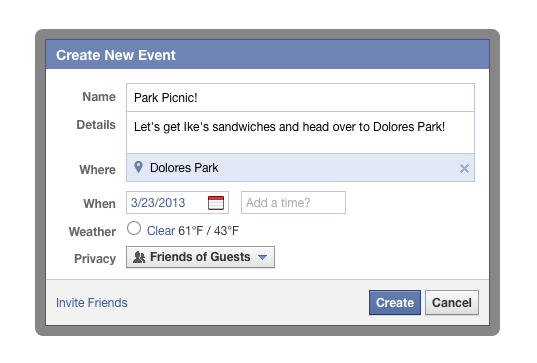 facebook events creation for organizer