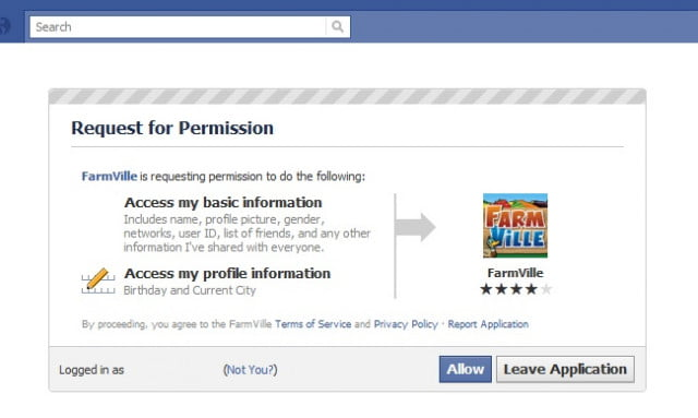 facebook farmville allow access to my profile page