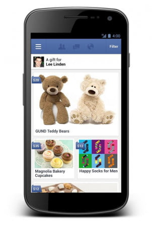 Facebook Gifts mobile